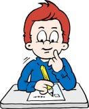 Ilustração do vetor dos desenhos animados de um menino de escola pensativo Imagens de Stock