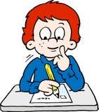 Ilustração do vetor dos desenhos animados de um menino de escola pensativo Imagens de Stock Royalty Free