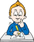 Ilustração do vetor dos desenhos animados de um menino de escola pensativo Foto de Stock Royalty Free
