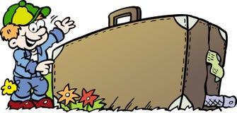 Ilustração do vetor dos desenhos animados de um menino de viagem com sua mala de viagem Fotografia de Stock Royalty Free