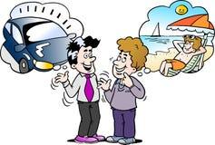 A ilustração do vetor dos desenhos animados de um pai de família lá pensa o que escolher o carro novo ou o feriado Fotografia de Stock Royalty Free