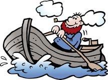 Ilustração do vetor dos desenhos animados de um pescador em seu barco a remos Fotos de Stock