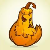 A ilustração do vetor dos desenhos animados de uma abóbora da Jack-O-lanterna curvou-se em uma expressão assustador, isolada no b ilustração do vetor