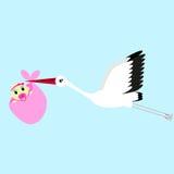 Ilustração do vetor dos desenhos animados de uma cegonha que entrega um bebê recém-nascido ilustração stock