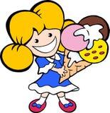 Ilustração do vetor dos desenhos animados de uma menina nova de sorriso feliz do gelado Fotografia de Stock Royalty Free