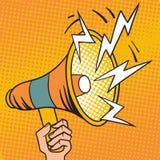 Ilustração do vetor dos desenhos animados do altifalante do projeto do megafone do pop art Fotos de Stock