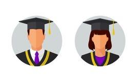 Ilustração do vetor dos estudantes graduados do homem e da mulher Fotos de Stock Royalty Free