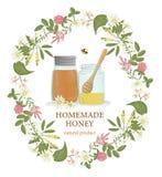 Ilustração do vetor dos frascos do mel quadro em flores selvagens ilustração royalty free