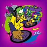 Ilustração do vetor dos grafittis do misturador do DJ Fotografia de Stock Royalty Free