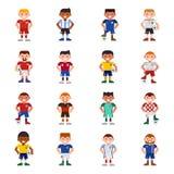 A ilustração do vetor dos jogadores de equipa de futebol do futebol de Eurcup e o jogo de mundo uniformes nacionais captain despo Foto de Stock