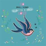 Ilustração do vetor dos pares de andorinhas bordadas com imitação do ponto no estilo retro da tatuagem ilustração stock