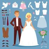 A ilustração do vetor dos pares dos noivos do casamento dos desenhos animados dos pares novos isolados em ícones do fundo e do ca ilustração do vetor