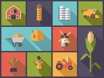 Ilustração do vetor dos símbolos da agricultura Fotografia de Stock Royalty Free