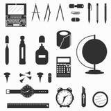 Ilustração do vetor dos símbolos dos materiais de escritório Foto de Stock