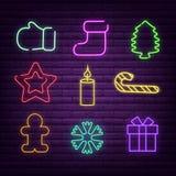 Ilustração do vetor dos sinais de néon do Natal por feriados de inverno ilustração royalty free