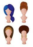Ilustração do vetor dos vários penteados Imagem de Stock