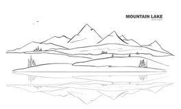 Ilustração do vetor: Entregue a paisagem tirada do esboço do lago mountain com pinho e reflexão ilustração stock