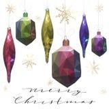 Ilustração do vetor do Feliz Natal Decorações da árvore de Natal no baixo equipamento poli Fotografia de Stock