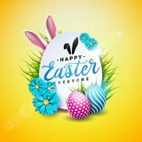 Ilustração do vetor do feriado feliz da Páscoa com ovo, as orelhas de coelho e a flor pintados da mola no fundo amarelo brilhante ilustração royalty free