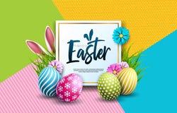 Ilustração do vetor do feriado feliz da Páscoa com ovo, as orelhas de coelho e a flor pintados da mola no fundo colorido ilustração do vetor