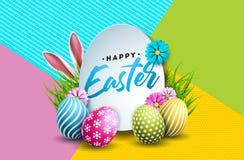 Ilustração do vetor do feriado feliz da Páscoa com ovo, as orelhas de coelho e a flor pintados da mola no fundo colorido ilustração royalty free