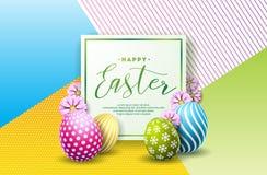 Ilustração do vetor do feriado feliz da Páscoa com ovo e a flor pintados no fundo limpo Celebração internacional ilustração royalty free