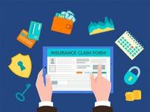 Ilustração do vetor, formulário do seguro do enchimento do conceito em linha ilustração royalty free