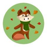 Ilustração do vetor do Fox bonito dos desenhos animados e do Autumn Leaves Fotografia de Stock Royalty Free