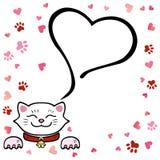 Ilustração do vetor, gato branco bonito com coração e espaço para o texto ilustração do vetor