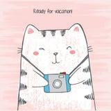 A ilustração do vetor do gato branco tirado mão do crtoon do esboço abraça sua câmera da foto no fundo cor-de-rosa riscado do gru ilustração stock