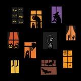 Ilustração do vetor do grupo da silhueta das janelas de Dia das Bruxas Imagens de Stock Royalty Free