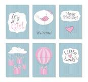 Ilustração do vetor Grupo de 6 cartões imprimíveis Aperfeiçoe aos cartões de aniversário recém-nascidos, cartão, etiquetas, etiqu ilustração stock