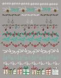 Ilustração do vetor Grupo de Natal e de elementos decorativos Imagens de Stock