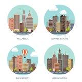 Ilustração do vetor Grupo de silhuetas da cidade cityscape Skyline da cidade Panorama Arranha-céus das casas do Midtown ilustração do vetor