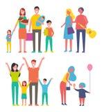 Ilustração do vetor do grupo dos ícones das famílias dos povos ilustração royalty free