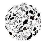 Ilustração do vetor, grupo, silhueta preto e branco Um grupo dos elementos - símbolos da mola Folhas, ramos, lâminas de grama, fl Foto de Stock Royalty Free