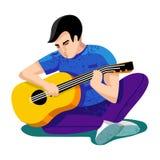 Ilustração do vetor homem novo - menino, adolescente - jogue na guitarra Estudantes universitário Estudantes que sentam-se na gra ilustração do vetor