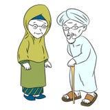 Ilustração do vetor idoso muçulmano do personagem de banda desenhada ilustração do vetor
