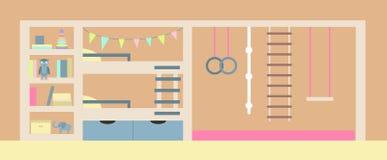 Ilustração do vetor Interior da sala do ` s das crianças Foto de Stock Royalty Free
