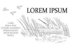 Ilustração do vetor Linha gráfico Patos do caçador Foto de Stock