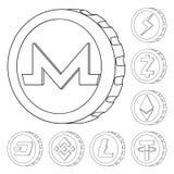 Ilustração do vetor do logotipo do cryptocurrency e da moeda Coleção do cryptocurrency e ícone cripto do vetor para o estoque ilustração royalty free