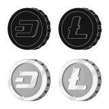 Ilustração do vetor do logotipo do cryptocurrency e da moeda Grupo de cryptocurrency e de ilustração conservada em estoque cripto ilustração stock