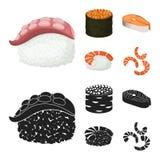 Ilustração do vetor do logotipo do sushi e do arroz Coleção da ilustração do vetor do estoque do sushi e do atum ilustração do vetor