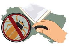 Ilustração do vetor Mão com lupa Nenhuns insetos Imagens de Stock Royalty Free