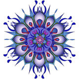 Ilustração do vetor Mandala azul abstrata em um fundo branco Foto de Stock Royalty Free