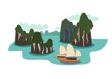 Ilustração do vetor do marco de Vietname Ha do estilo longo dos desenhos animados da baía ilustração do vetor