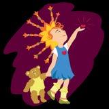 Ilustração do vetor: menina com corações Imagens de Stock Royalty Free