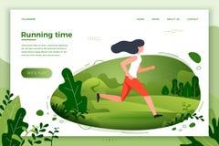 Ilustração do vetor - menina desportiva que corre no parque ilustração stock