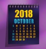 ilustração do vetor do molde de 2018 calendários ilustração royalty free