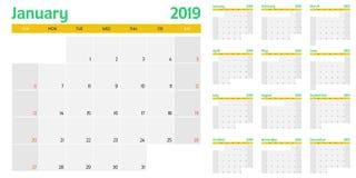 Ilustração 2019 do vetor do molde do planejador do calendário Fotografia de Stock
